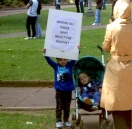 Aussie mum and kids at Sydney rally Sept 2012
