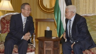 UN's Ban Ki-Moon and Gaza Hamas Leader Mahmud Abbas