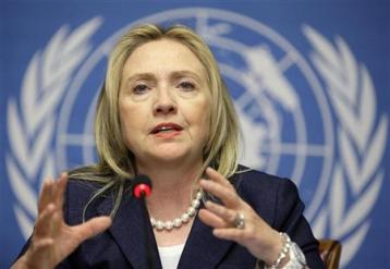U.S. Secretary of State Hillary Clinton gestures during a news conference after the meeting of the Action Group on Syria at the United Nations European headquarters in Geneva, June 30, 2012. REUTERS/Valentin Flauraud