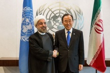 NEW YORK, NY - SEPTEMBER 26: Iranian President Hassan Rouhani (L), meets with United Nations Secretary General Ban Ki-moon on the sidelines of the United Nations General Assembly on September 26, 2013 in New York City. While their have been talks of diplomatic relations between Iran and the United states restarting, Rouhani turned down an opportunity to meet with U.S. President Barack Obama earlier in the week. (Photo by Andrew Burton/Getty Images)