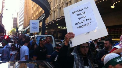 Sydney CBD, September 15, 2012. Muslims protest release of movie in USA