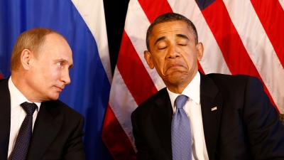 File photo of U.S. President Barack Obama (R) meeting with Russia's President Vladimir Putin in Los Cabos, Mexico, June 18, 2012. Obama cancelled a meeting with Putin planned for next month in Moscow over frustration with Russia's asylum for fugitive intelligence contractor Edward Snowden, the White House said August 7, 2013. REUTERS/Jason Reed/Files (MEXICO - Tags: POLITICS)