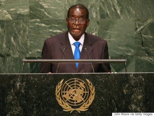 NEW YORK, NY - SEPTEMBER 28: President of Zimbabwe Robert Mugabe addresses the United Nations General Assembly on September 28, 2015 in New York City. World leaders gathered for the 70th session of the annual meeting. (Photo by John Moore/Getty Images)