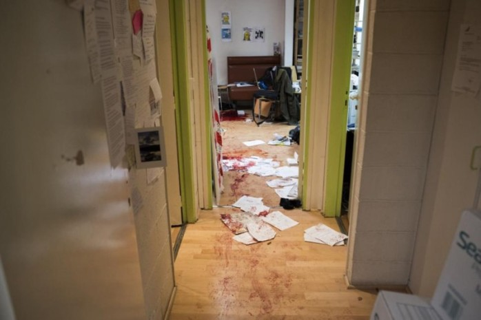Charlie Hebdo offices after the slaughter of innocent staff