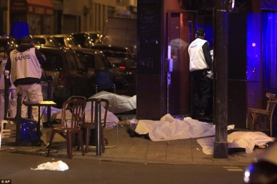 Paris shooting victims litter the sidewalk
