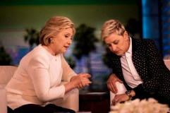 BURBANK, CA - Democratic Candidate for President former Secretary of State Hillary Clinton talks to and relaxes with comedian Ellen DeGeneres between segments during the taping of an upcoming Ellen DeGeneres Show in Burbank, California on Tuesday May 24, 2016. (Photo by Melina Mara/The Washington Post via Getty Images)